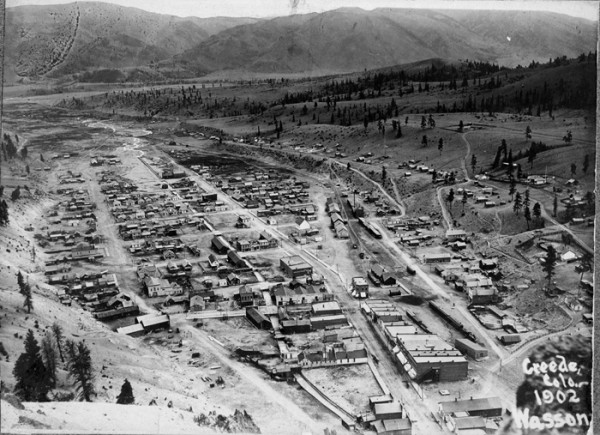 Aerial View of Creede from Mammoth Mt 1902 (photo courtesy Creede Historical Society 377-CR-55)
