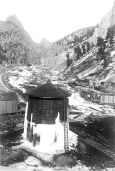Stringtown Water Tower with Ice, c1892 - Creede Historical Society #464-CRS-3c2